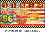retro route sixty six diner... | Shutterstock .eps vector #689953513