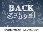 school stationary icons and... | Shutterstock . vector #689953954