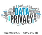 word cloud with data privacy... | Shutterstock . vector #689954248