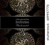 wedding invitation or card  ... | Shutterstock . vector #689957770