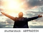 rear view of a man stretching ... | Shutterstock . vector #689960554