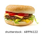 cheeseburger and mustard in... | Shutterstock . vector #68996122
