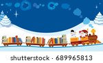 santa claus and snowman in a... | Shutterstock . vector #689965813