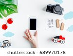 tourist equipment with mobile... | Shutterstock . vector #689970178