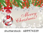 christmas background with fir... | Shutterstock .eps vector #689974339