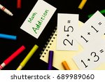 math addition  a sketchbook and ...   Shutterstock . vector #689989060