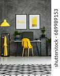 room with metal desk  yellow... | Shutterstock . vector #689989153