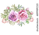 cute watercolor roses | Shutterstock . vector #689989210