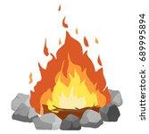 campfire clip art illustration... | Shutterstock .eps vector #689995894