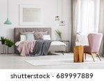 modern poster hanging above big ... | Shutterstock . vector #689997889