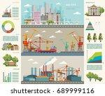 big city infographic. vector... | Shutterstock .eps vector #689999116