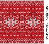 seamless knitting pattern.... | Shutterstock .eps vector #690000358
