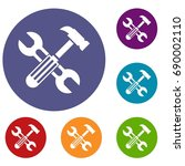 hammer and screw wrench icons... | Shutterstock . vector #690002110