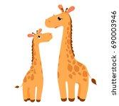 giraffes family cartoon...   Shutterstock .eps vector #690003946