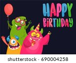 vector birthday card with cute... | Shutterstock .eps vector #690004258