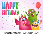 vector birthday card with cute... | Shutterstock .eps vector #690004264