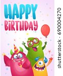 vector birthday card with cute... | Shutterstock .eps vector #690004270