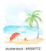 beach and sea  watercolor... | Shutterstock .eps vector #69000772