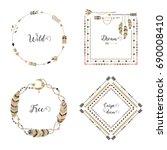 hand drawn boho style frames...   Shutterstock .eps vector #690008410