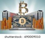 bitcoin finance. close up of... | Shutterstock . vector #690009010