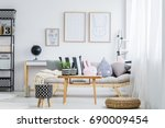 pastel girly room with simple... | Shutterstock . vector #690009454