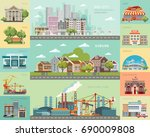 big city concept.... | Shutterstock .eps vector #690009808