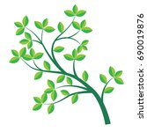 isolated green branch and leaf... | Shutterstock .eps vector #690019876