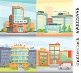 set hospital building cartoon... | Shutterstock . vector #690023998