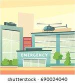 hospital building cartoon... | Shutterstock . vector #690024040