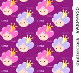 vector cute cartoon pattern... | Shutterstock .eps vector #690044920