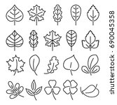 leaf icon set. linear... | Shutterstock . vector #690045358