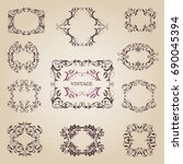 vintage old empty frames and... | Shutterstock . vector #690045394