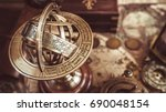 antique brass globe sphere... | Shutterstock . vector #690048154