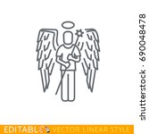 angel and devil business icons. ... | Shutterstock .eps vector #690048478