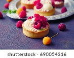 cakes with strawberries and...   Shutterstock . vector #690054316