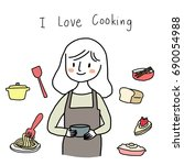 lovely woman with apron and... | Shutterstock .eps vector #690054988