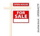 basic house for sale with open... | Shutterstock .eps vector #690064279