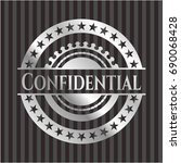 confidential silver shiny badge | Shutterstock .eps vector #690068428