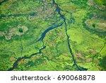aerial view of okavango delta...   Shutterstock . vector #690068878