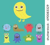 funny cartoon monster cute... | Shutterstock .eps vector #690083329