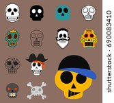 different style skulls faces... | Shutterstock .eps vector #690083410