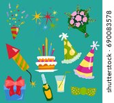 party icons celebration happy... | Shutterstock .eps vector #690083578