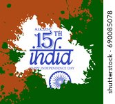 happy indian independence day... | Shutterstock .eps vector #690085078