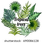 vector set of tropical palm... | Shutterstock .eps vector #690086128