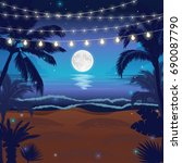 romantic night beach scene with ... | Shutterstock .eps vector #690087790