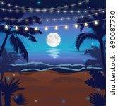 romantic night beach scene with ... | Shutterstock .eps vector #690087790
