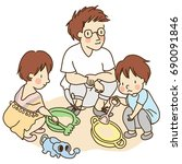 vector illustration of dad and...   Shutterstock .eps vector #690091846