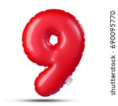 number 9 inflatable typerface... | Shutterstock . vector #690095770
