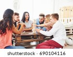 group of creative friends... | Shutterstock . vector #690104116