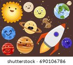high quality solar system space ... | Shutterstock .eps vector #690106786